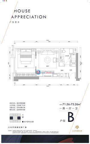 大中华W公寓B户型 一房 71.56㎡-75.26㎡