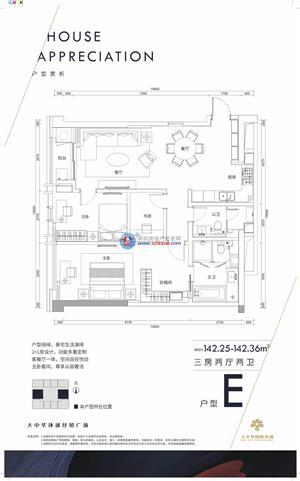 大中华W公寓E户型 三房 142.25㎡-142.36㎡